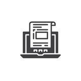 Laptop with document, invoice icon vector, filled flat sign, solid pictogram isolated on white. Stock Photo