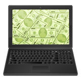 Laptop and dollar background Stock Photo