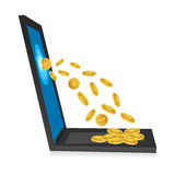 Laptop with dollar coins. Illustration of laptop with dollar coins on white background Royalty Free Stock Photo
