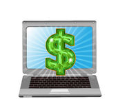 Laptop with dollar sign. Grey laptop with dollar sign, isolated Stock Image