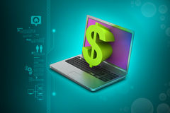 Laptop with dollar sign Royalty Free Stock Photo