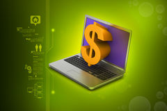 Laptop with dollar sign Royalty Free Stock Photos
