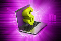 Laptop with dollar sign Stock Photography