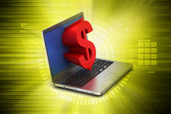 Laptop with dollar sign Royalty Free Stock Photography