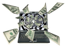 Laptop and dollars Royalty Free Stock Photography