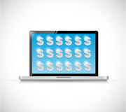 Laptop and dollars symbols illustration design Royalty Free Stock Photography