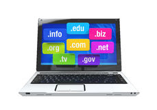 Laptop with Domain Names Stock Photos