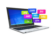 Laptop with Domain Names Stock Images