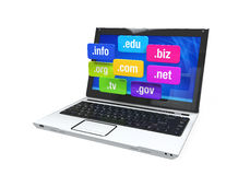 Laptop with Domain Names. Isolated on white background. 3D render Royalty Free Stock Image