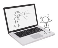 A laptop with a doodle art Stock Image