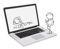A laptop with doodle designs Royalty Free Stock Image
