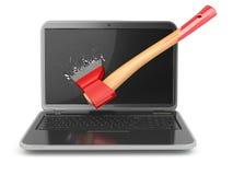 Laptop door bijl op witte achtergrond wordt beschadigd die Concept a Stock Foto