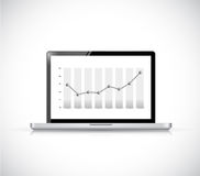 Laptop dot bar graph illustration design Stock Photo
