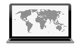 Laptop with dotted world map  Royalty Free Stock Images
