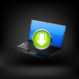 Laptop with download button. Vector Royalty Free Stock Photos
