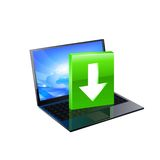 Laptop with download button. Vector Stock Photography