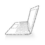 Laptop drawing Stock Images