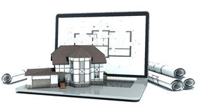 Laptop and drawings with house project. 3d Stock Photo