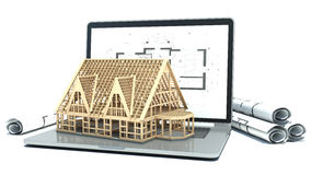 Laptop and drawings with house project. 3d Royalty Free Stock Images