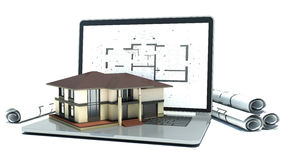 Laptop and drawings with house project. 3d Royalty Free Stock Photography