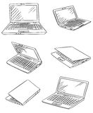 Laptop drawings vector set Stock Image