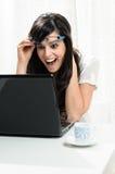 laptop duży niespodzianka Obrazy Royalty Free
