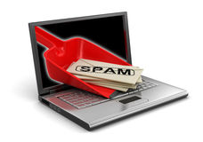 Laptop, Dustpan and Spam letters (clipping path included) Royalty Free Stock Photo