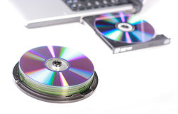Laptop and dvd Royalty Free Stock Photos