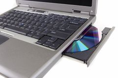 Laptop with DVD/CD Royalty Free Stock Image