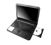 Laptop with dvd disk Stock Photo