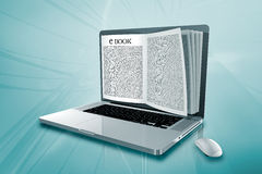 A laptop with an e BOOK Stock Photo