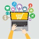 Laptop e mão com a loja em linha da cesta, conceito do comércio eletrónico ilustração do vetor