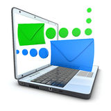Laptop e-mail blue and green Royalty Free Stock Images