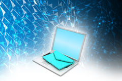 Laptop with e-mail Stock Photo