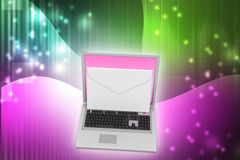 Laptop with e-mail Royalty Free Stock Photos