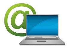 Laptop with e-mail symbol illustration Stock Image
