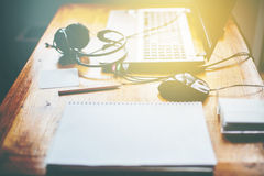 Laptop Earphones Mouse Vintage Table Royalty Free Stock Image
