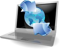 Laptop with earth and arrow Royalty Free Stock Image