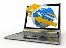 Laptop with earth and arrow Stock Photo
