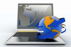 Laptop with earth and arrow Royalty Free Stock Images