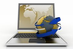 Laptop with earth and arrow. Internet concept. Royalty Free Stock Image