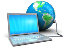 Laptop and earth globe. 3d illustration of white laptop connected to earth globe Stock Photography
