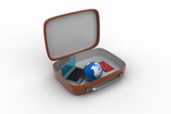 Laptop and earth globe in a brief case Royalty Free Stock Photography