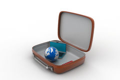 Laptop and earth globe in a brief case Stock Photography
