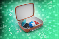 Laptop and earth globe in a brief case Royalty Free Stock Photo