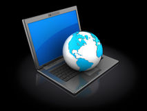 Laptop with earth globe Royalty Free Stock Image