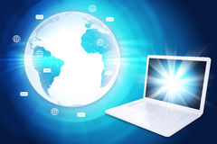 Laptop with Earth globe and icons. Laptop with Earth globe on abstract blue background stock illustration