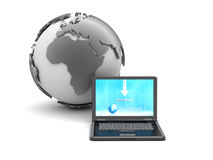 Laptop and earth globe Stock Photos