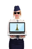 Laptop with eiffel tower Stock Images