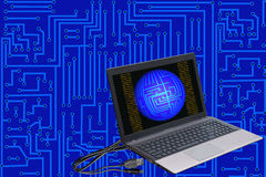 Laptop on electronic background Royalty Free Stock Photos